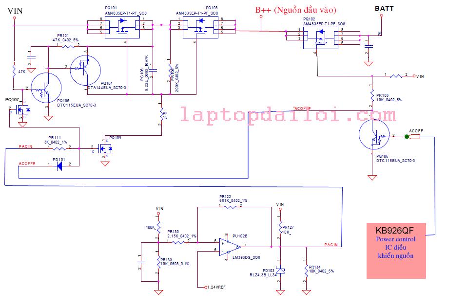 Phân tích mạch cấp nguồn đầu vào của máy HP CQ-40